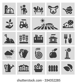 farm vector logo design template. gardening, horticulture or harvest, crop icons