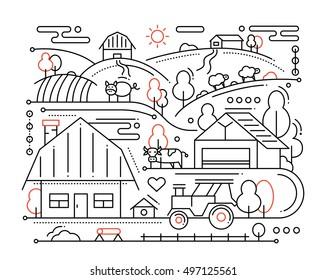 Farm - vector modern simple line flat design city composition with rural scene