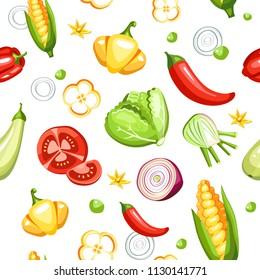 Farm vegetables garden vector seamless pattern