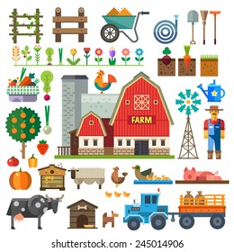 Farm in village. Elements for game: sprites and tile sets. Beds, tree, flowers, vegetables, fruits, hay, farm building, animals, farmer, tractor, tools. Vector flat  illustrations