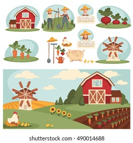 Farm Village landscape illustrations with farm building. Farm Village Set with harvest, ranch and house, barn and field grass. Farm Village Cartoon elements. Farm Vector isolated on white background.