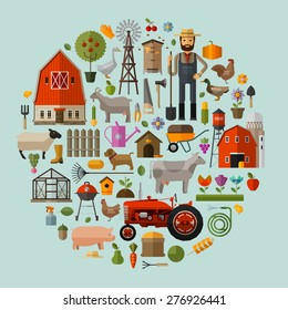 farm in the village. A set of elements - house, barn, animals, tractor, flowers, fruits and vegetables