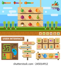 Farm in the village. Wooden User Interface for game: basic controls, menus, pop-up windows, icons