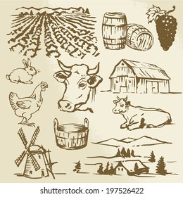 farm, vineyard, agriculture - hand drawn collection
