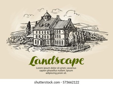 Farm, vineyard sketch. Vintage rural landscape, farming, agriculture vector illustration