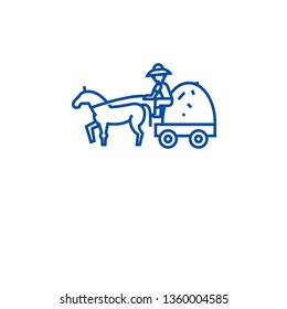 Farm wagon with straw line icon concept. Farm wagon with straw flat  vector symbol, sign, outline illustration.