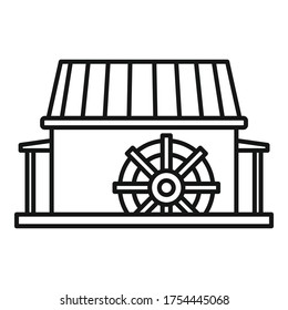 Farm water mill icon. Outline farm water mill vector icon for web design isolated on white background