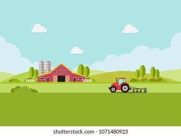 farm with water tank and Tractor, country landscape, trendy flat style vector design template. vector illustration.