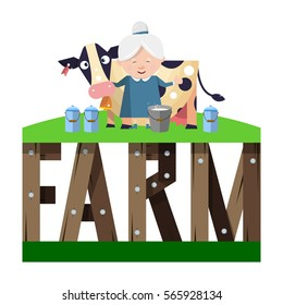 Farm word consists of stylized wooden letters and funny milkmaid with a cow. Vector illustration isolated on white background.