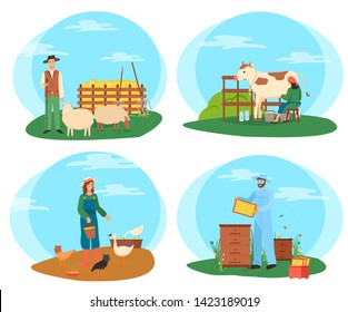 Farm workers vector, farmers caring animals woman feeding chickens with organic crops and grains, sheep and cow giving milk to milkmaid, beekeeper