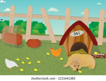 A farm yard with a dog in front of a dog's cottage, the chickens eat in  the yard, pumpkins are in a wicker basket