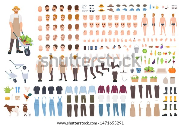 Farmer Agricultural Worker Set Avatar Generator Stock Vector Royalty Free 1471655291