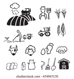 Farmer and agriculture drawing cartoon icons