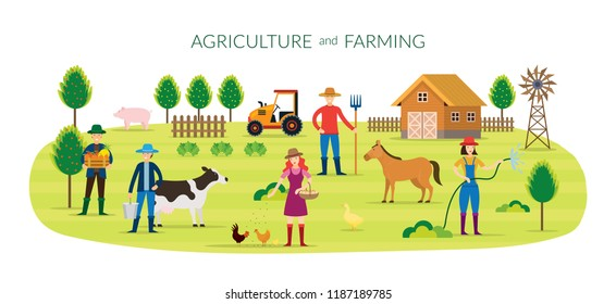 Farmer, Agriculture and Farming Concept, Cultivate, Countryside, Field, Rural, People