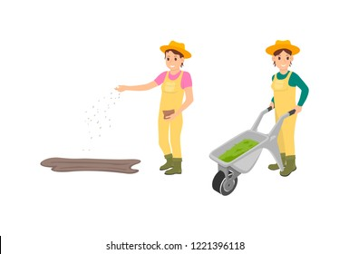 Farmer agriculture work of isolated icons. Woman sowing seeds from bag and farmer female pushing trolley with compost for soil fertilization vector