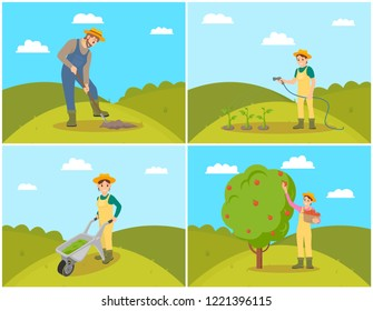 Farmer with basket and apples fruits in wicker pannier. Harvesting woman and fruits gathering. Compost trolley, fertilizing of farmlands, set vector