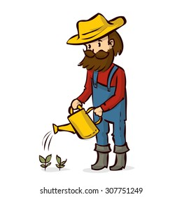 A farmer with a beard and mustache to water the plants. Hand drawn cartoon vector illustration. Isolated on white