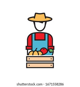 farmer with box of vegetables