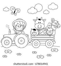Farmer boy driving a tractor and carrying farm animals. Vector black and white coloring page.