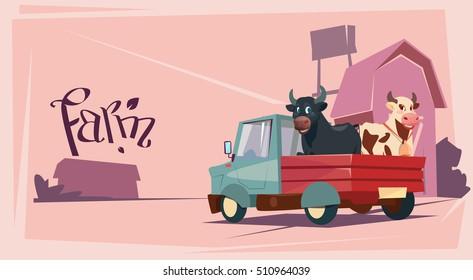 Farmer Breeding Animals Cow Farmland Background Flat Vector Illustration