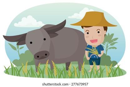 farmer and buffalo. Eps10 Vector illustration