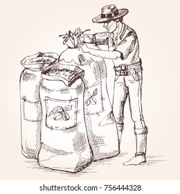 Farmer carries out harvesting of coffee. The worker tie a bag of coffee beans. Vintage illustration.