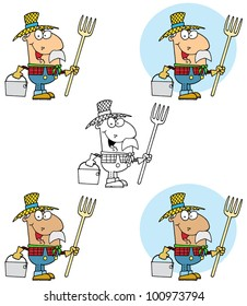 Farmer Carrying A Rake And Pail. Vector Collection