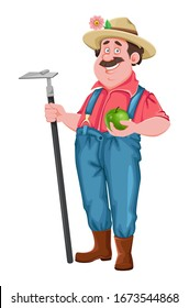 Farmer cartoon character. Cheerful farmer with hoe and apple. Stock vector isolated on white