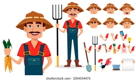 Farmer cartoon character creation set. Cheerful gardener, pack of body parts and emotions. Build your personal design. Stock vector illustration
