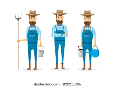 farmer cartoon character isolated on white background. vector illustration