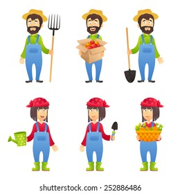 Farmer cartoon character set with males and females with agriculture equipment isolated vector illustration