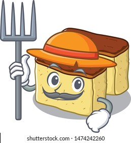 Farmer castella cake isolated in the cartoon