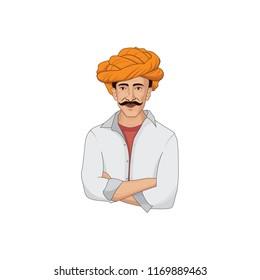 Farmer Character Logo Design Illustration