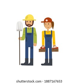 Farmer character set, vector illustration