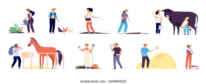 Farmer characters. People agricultural workers with farm animals cow chickens and horse. Farmers planting vegetables. Vector illustration