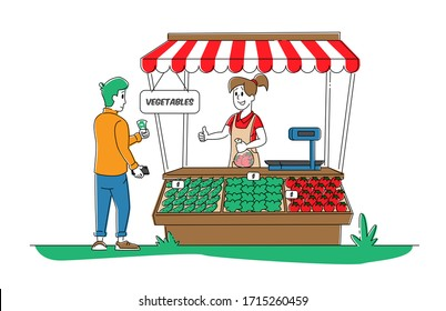 Farmer Characters Sell Fresh Vegetable Products to Man Customer at Counter Desk. Outdoors City Farm Market, Purchaser Buying Ecological Healthy Organic Local Food. Linear People Vector Illustration