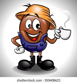 Farmer coffee bean cartoon