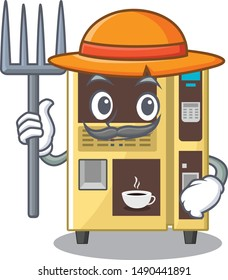 Farmer coffee vending machine isolated the mascot