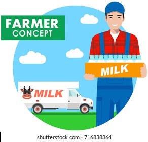 Farmer concept. Detailed illustration of driver, milkman in overalls on background with milk truck in flat style. Vector illustration.