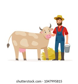 Farmer with a cow and bucket with milk and hay. Farming concept vector illustration in flat design. Happy farmer and farm animal cartoon characters isolated on white background.