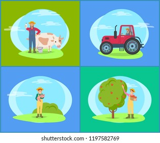 Farmer with cow domestic livestock cattle and small piglet. Farming woman, lady harvesting apples from fruit tree into wicker basket pannier vector