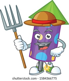 Farmer dot fireworks rocket cartoon character with hat and tools