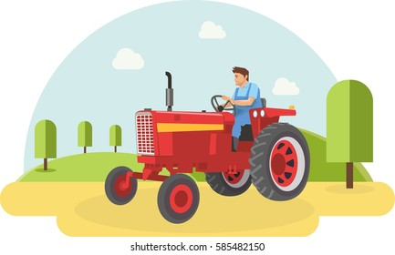 A farmer driving his tractor into farm filed