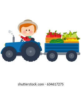 Farmer driving a tractor and carrying fruits