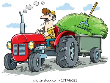Farmer driving a tractor in a field.