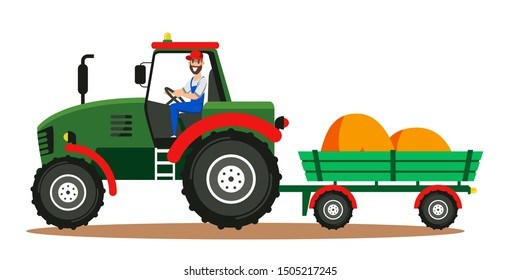 Farmer driving tractor in field illustration. Hay bales in cart. Man cartoon character working in farm using agricultural machinery round isolated clipart. Horticulture and husbandry business