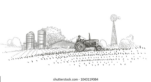 Farmer driving a tractor in the field near the farm hand drawn illustration. Vector.