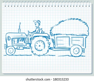 Farmer driving tractor with grass.