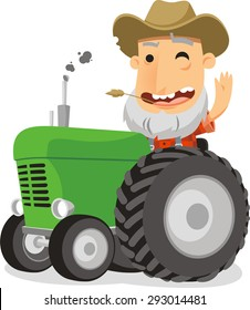 farmer driving tractor vector cartoon illustration