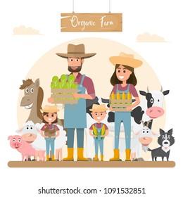 farmer family cartoon character with animals in organic rural farm. vector illustration